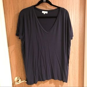 Navy Piko Short Sleeve V-Neck